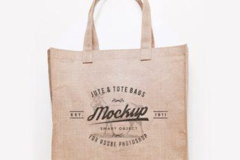 Eco-friendly Jute Bag Design Mockup in PSD