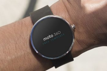 Free Realistic Moto 360 Watch Mockup in PSD