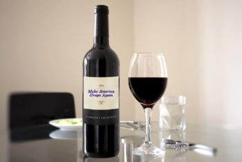 Free Red Wine Bottle Scene Mockup in PSD
