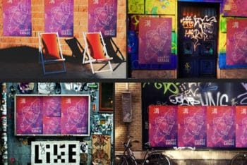 Free Urban Poster Scenes Mockup in PSD