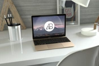 Free Realistic Gold MacBook Design Mockup in PSD