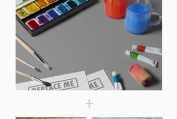 Free Artists Scene Plus Materials Mockup in PSD