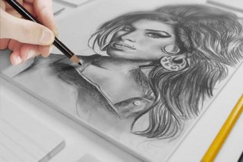 Free Artist Canvas Sketch Scene Mockup in PSD