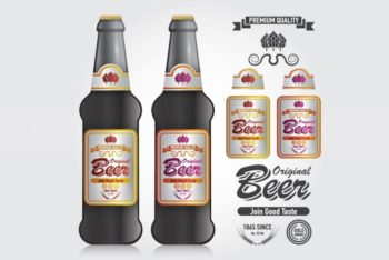Free Customizable Flat Beer Bottles Mockup in PSD