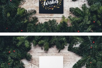 Free Blank Christmas Card Design Mockup in PSD