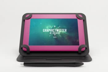 Free Customizable Colored Tablet Mockup in PSD