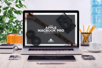 Free MacBook Pro Display Plus Accessories Mockup in PSD