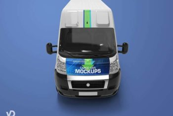 Free Customizable Delivery Cargo Van Mockup in PSD