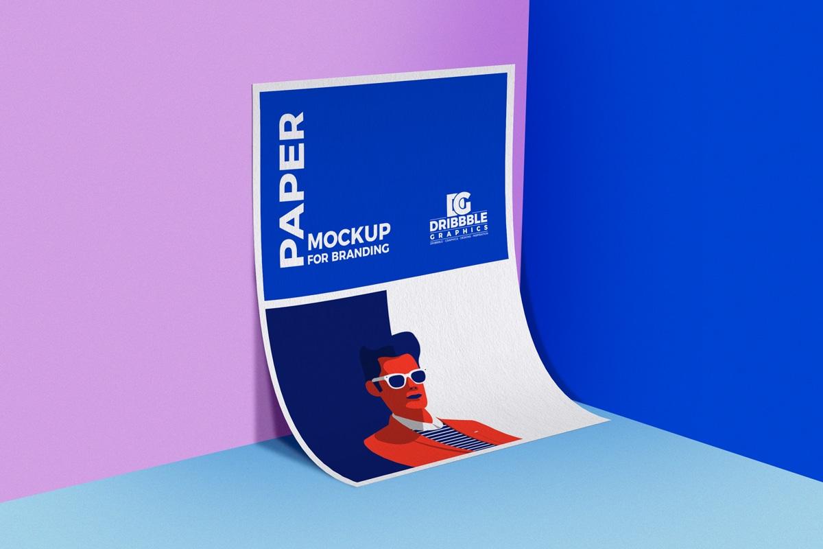 A4 Sized Paper PSD Mockup Design
