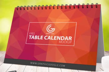 Free Awesome Table Calendar Mockup in PSD