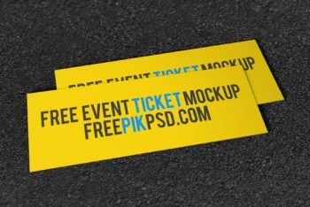 Free Wide Event Ticket Design Mockup in PSD