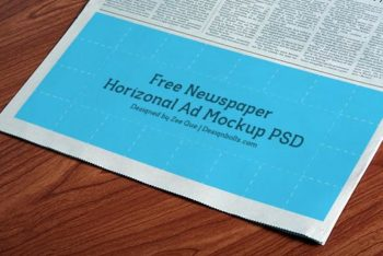 Newspaper Ad PSD Mockup Available in Horizontal Design