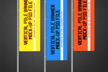 Vertical Flag PSD Mockup Available for Free
