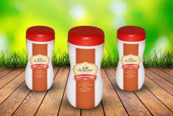 Free Customizable Plastic Bottle Jar Mockup in PSD