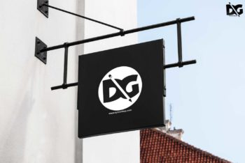 Restaurant Sign PSD Mockup for Outdoor Advertising