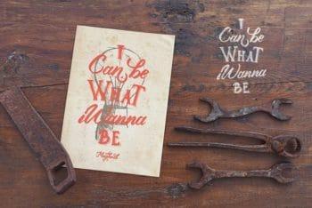 Free Vintage Poster Plus Old Tools Mockup in PSD