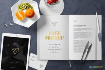 Free Stylish Book Page Scene Mockup in PSD
