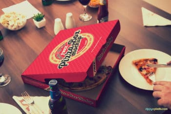 Free Finger Licking Good Pizza Mockup in PSD