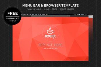 Free Menu Bar Plus Browser Mockup in PSD