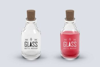 Free Glass Bottle Plus Cork Mockup in PSD