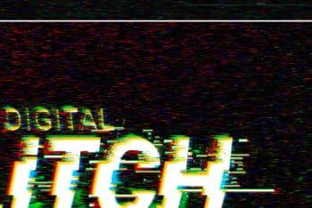 Free Customizable Digital Glitch Effect Mockup in PSD