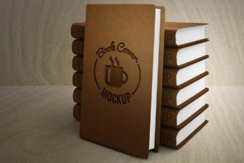 Free Customizable Leather Book Cover Mockup in PSD