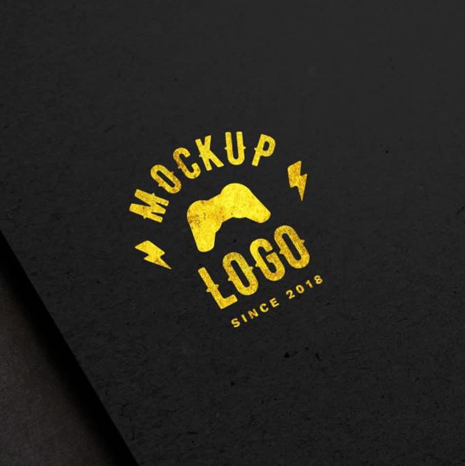 Free Luxury Logo Plus Black Surface Mockup In PSD