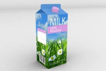 Free Milk Box Plus Plastic Cap Mockup in PSD
