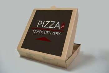 Free Simple Pizza Box Design Mockup in PSD