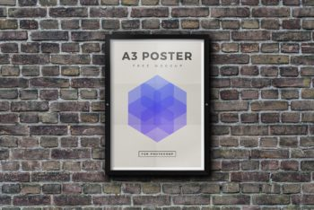 Free Outdoor Framed Poster Mockup in PSD