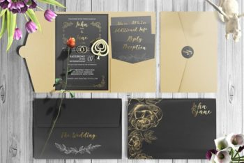 Free Customizable Pocket Invitation Design Mockup