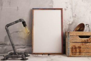 Free Realistic Frame Plus Industrial Lamp Mockup