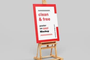 Free Poster Plus Easel Scene Mockup in PSD