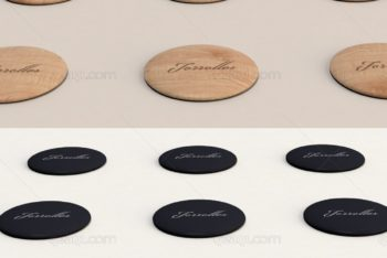 Free Wood Plus Plastic Button Pins Mockup in PSD