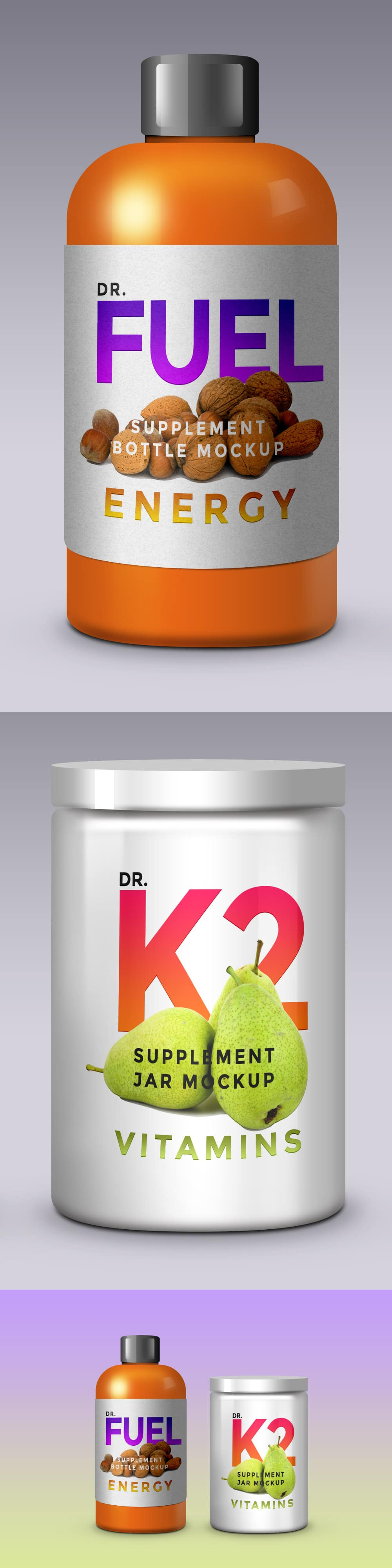 3D Supplement Products Packaging