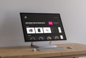 Free Surface Studio Plus Table Mockup in PSD