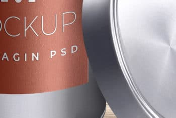 Free Cylindrical Tin Container Mockup in PSD