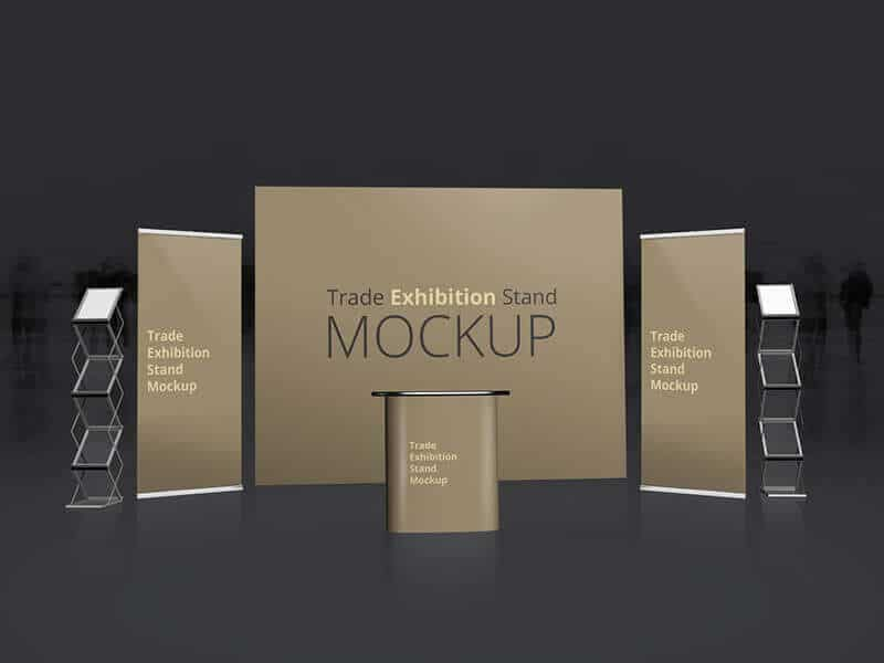Exhibition Booth Mockup Psd : Free trade exhibition booth mockup in psd designhooks