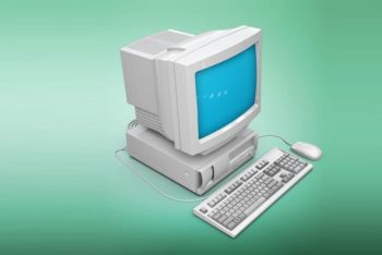 Free Realistic Vintage Computer Mockup in PSD