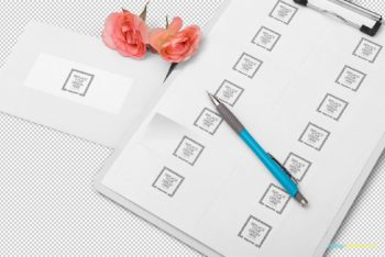 Free Wedding Address Label Mockup in PSD