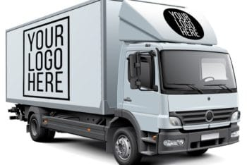 Free Huge Box Truck Design Mockup in PSD