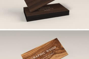Free Awesome Classy Wooden Business Cards Mockup