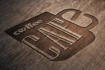 Free Engraved Wooden Logo Mockup in PSD