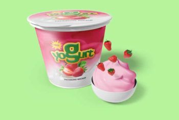 Free Yogurt Packaging Design Mockup in PSD