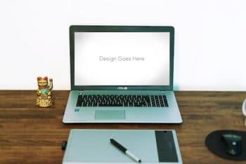 Free Asus Laptop Plus Wacom Mockup in PSD