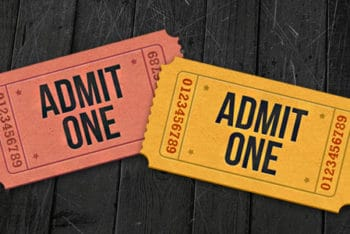 Free Realistic Admit One Ticket Mockup in PSD