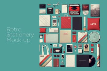 Free Retro Theme Stationery Mockup in PSD