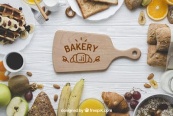 Free Top View Bakery Scene Mockup in PSD