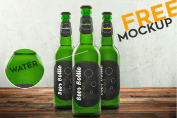 Print-ready Free Beer Bottle PSD Mockup