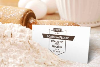 Free Bakery Flour Plus Business Card Scene Mockup